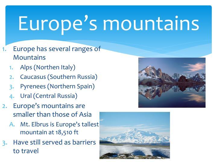 Europe's mountains