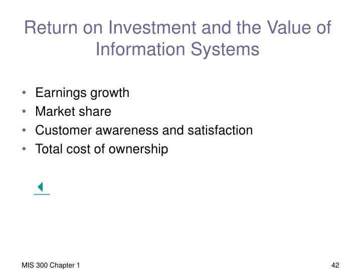 Return on Investment and the Value of Information Systems