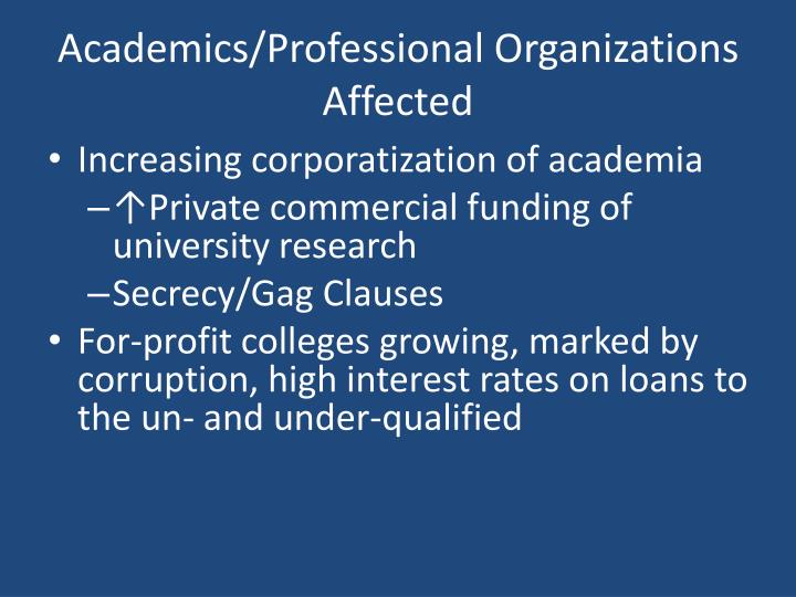 Academics/Professional Organizations Affected