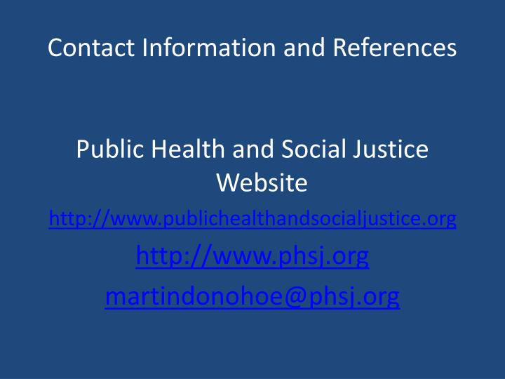 Contact Information and References