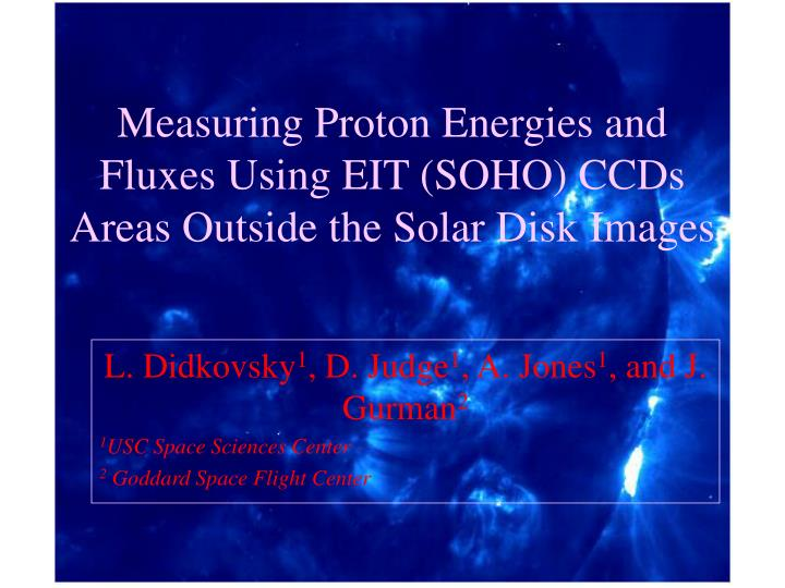 Measuring proton energies and fluxes using eit soho ccds areas outside the solar disk images