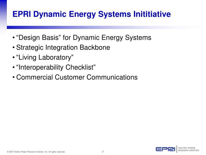 EPRI Dynamic Energy Systems Inititiative
