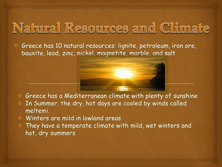 Natural Resources and Climate