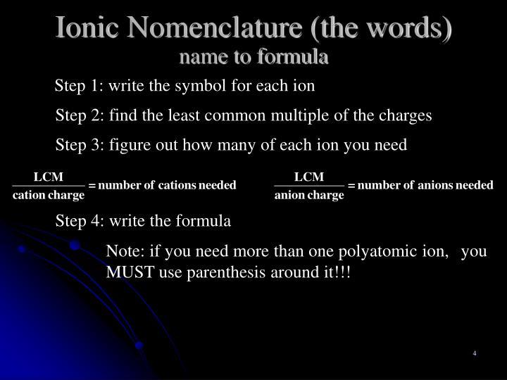 Ionic Nomenclature (the words)