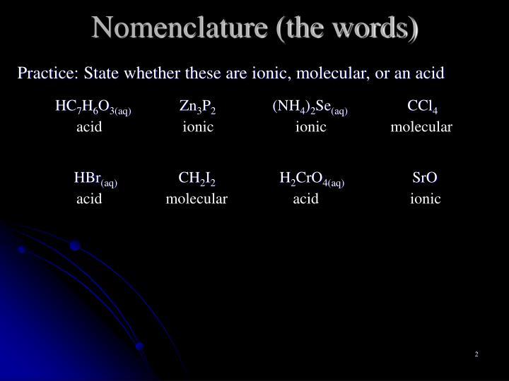 Nomenclature the words