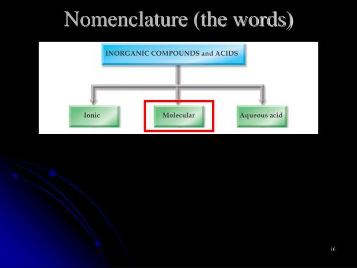 Nomenclature (the words)