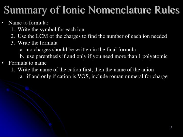 Summary of Ionic Nomenclature Rules