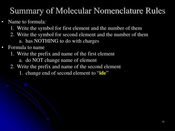 Summary of Molecular Nomenclature Rules