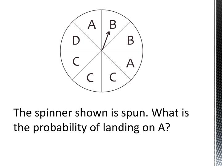 The spinner shown is spun. What is the probability of landing on A?