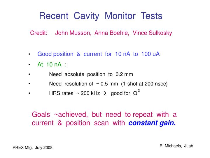 Recent  Cavity  Monitor  Tests