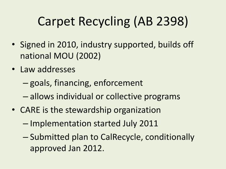 Carpet Recycling (AB 2398)