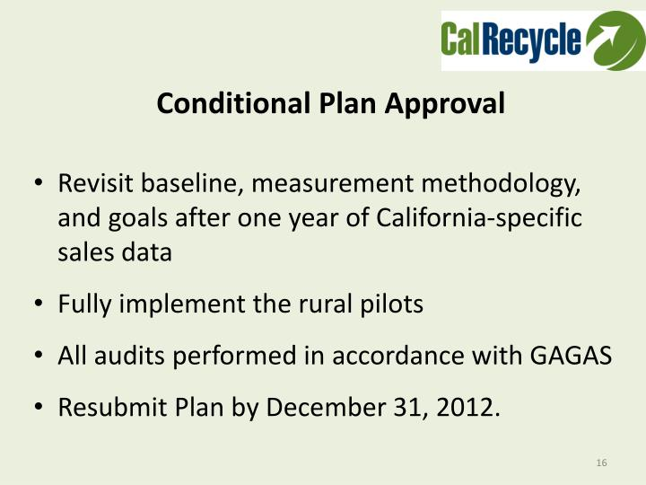 Conditional Plan Approval