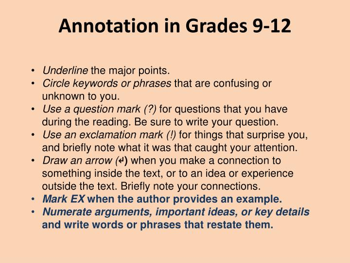 Annotation in Grades 9-12