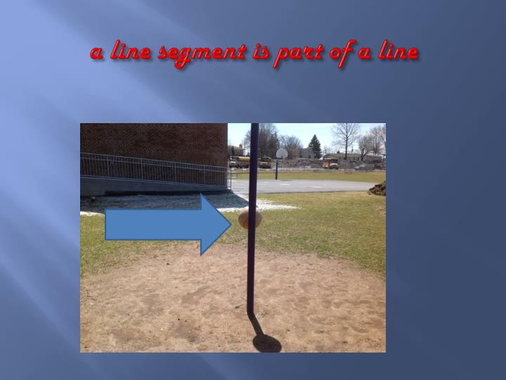 A line segment is part of a line