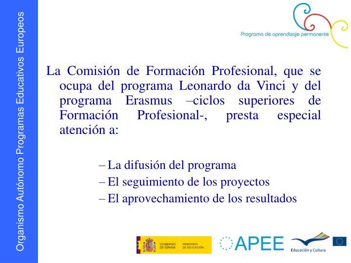 La Comisión de Formación Profesional, que se ocupa del programa Leonardo da Vinci y del programa Erasmus –ciclos superiores de Formación Profesional-, presta especial atención a:
