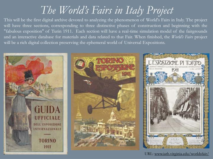 The World's Fairs in Italy Project