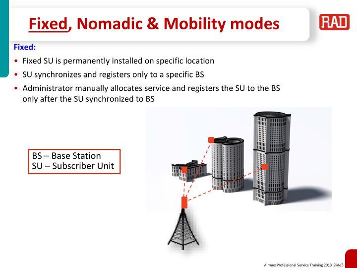 Fixed nomadic mobility modes