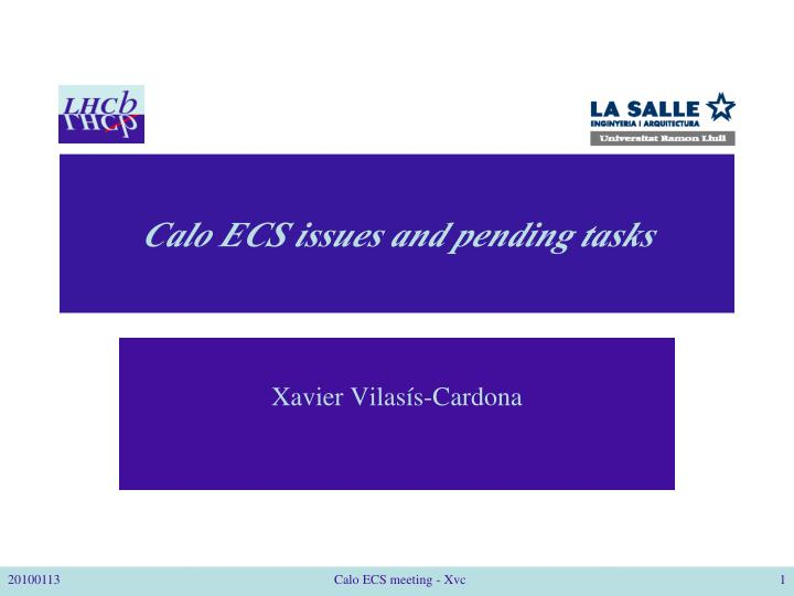 Calo ecs issues and pending tasks