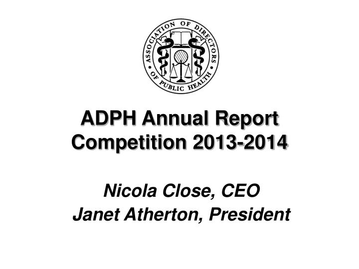 ADPH Annual Report Competition 2013-2014