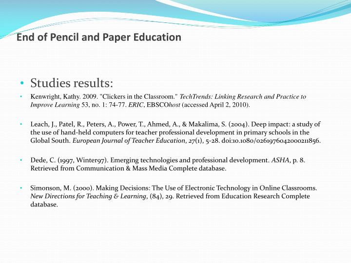 End of pencil and paper education1