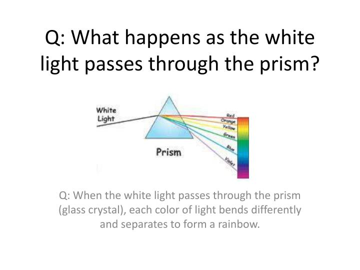 Q: What happens as the white light passes through the prism?
