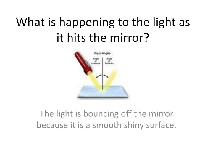 What is happening to the light as it hits the mirror