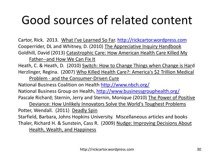 Good sources of related content