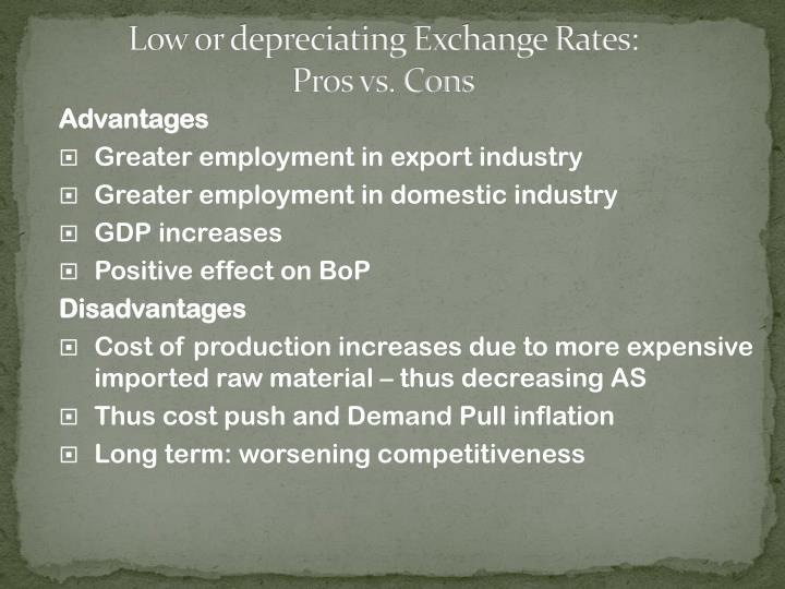 Low or depreciating Exchange Rates: