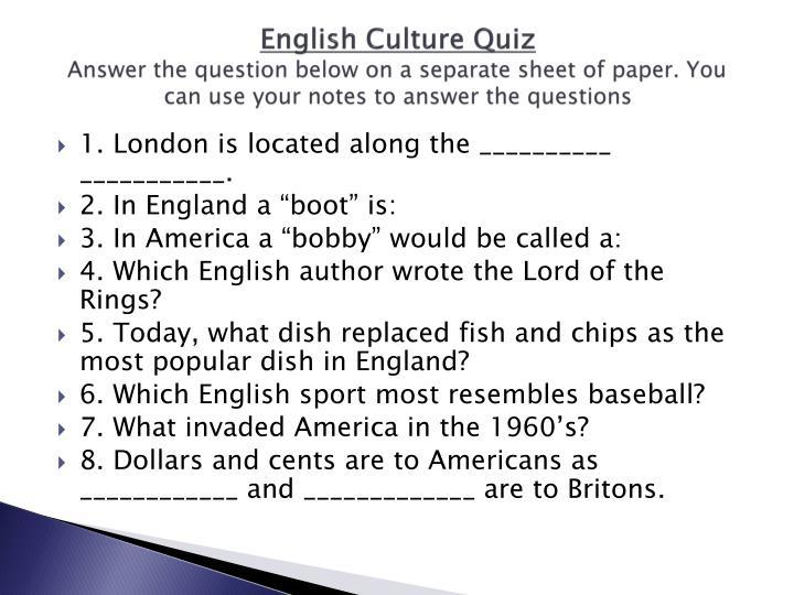 English Culture Quiz