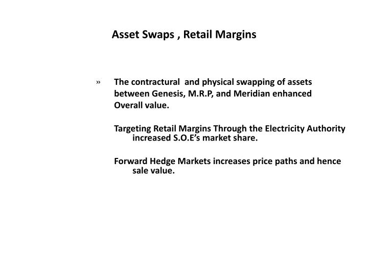 Asset swaps retail margins