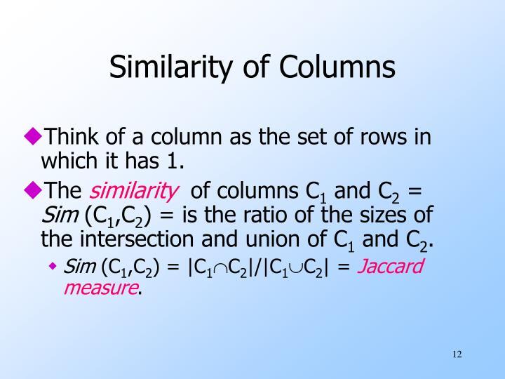 Similarity of Columns