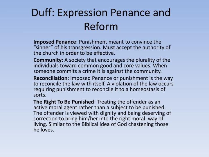 Duff expression penance and reform
