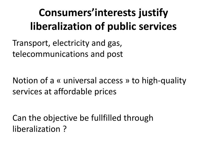 Consumers'interests