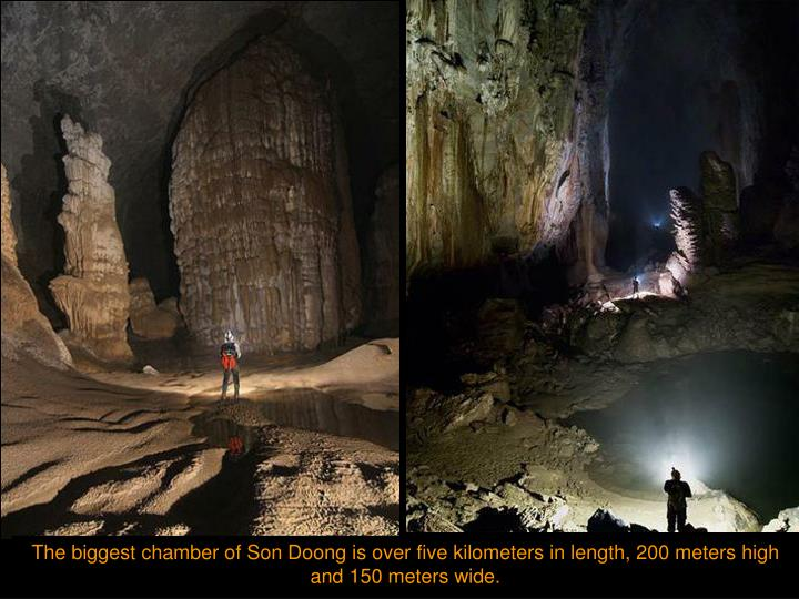 The biggest chamber of Son Doong is over five kilometers in length, 200 meters high and 150 meters wide.