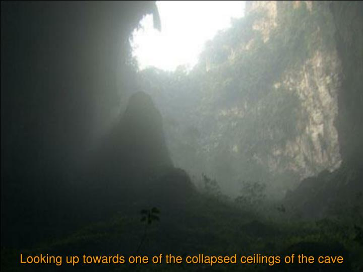 Looking up towards one of the collapsed ceilings of the cave
