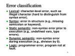 error classification