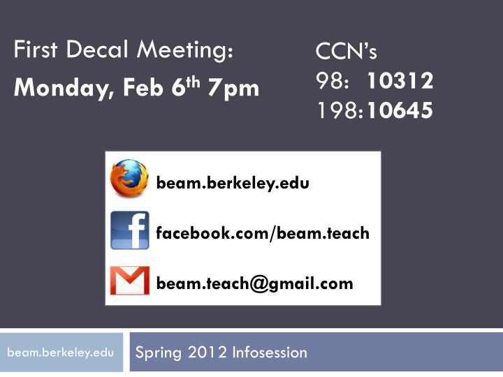 First Decal Meeting: