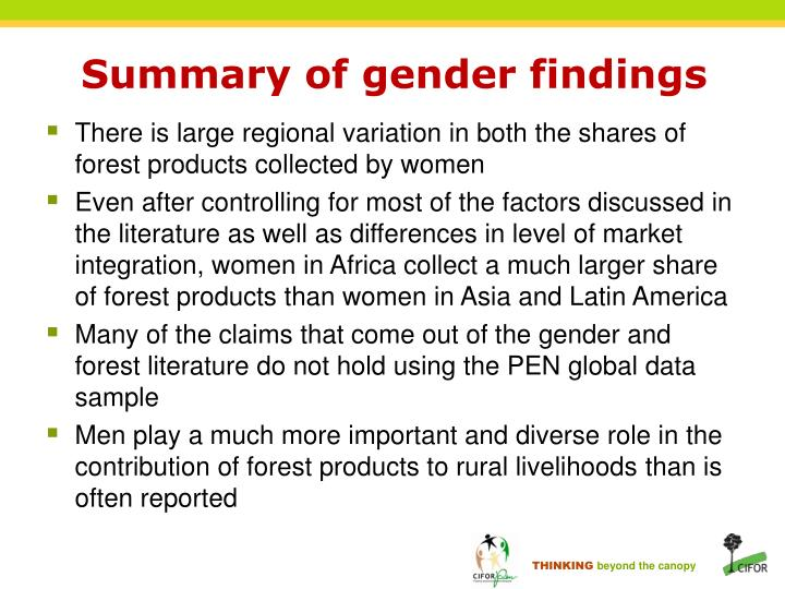Summary of gender findings