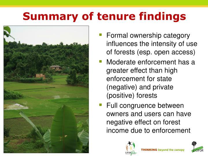 Summary of tenure findings