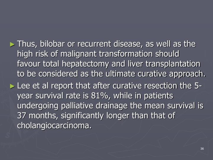Thus, bilobar or recurrent disease, as well as the high risk of malignant transformation should favour total hepatectomy and liver transplantation to be considered as the ultimate curative approach.