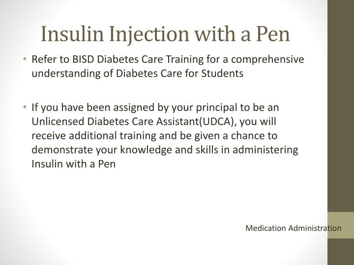 Insulin injection with a pen