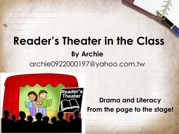 reader s theater in the class n.
