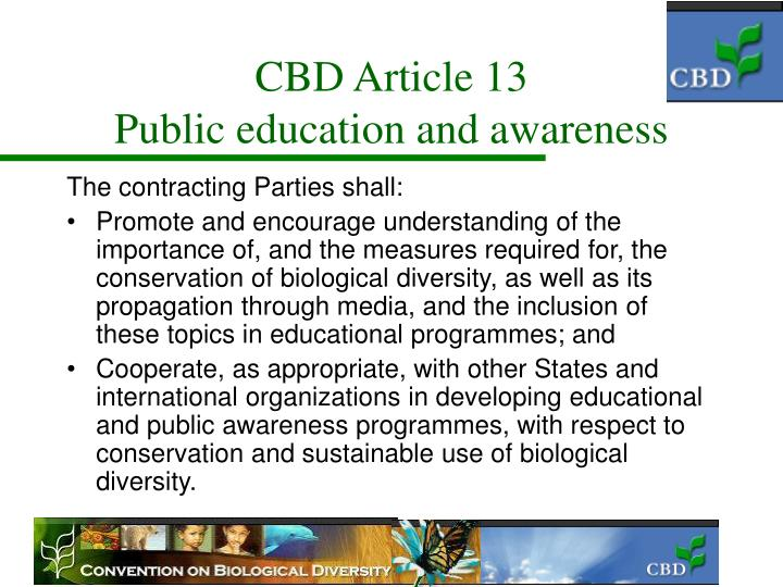 Cbd article 13 public education and awareness
