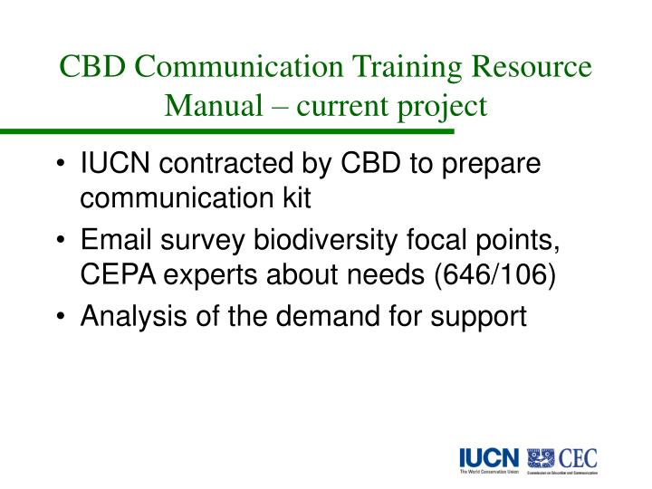 CBD Communication Training Resource Manual – current project
