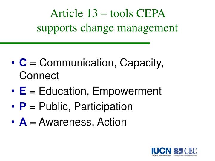 Article 13 – tools CEPA