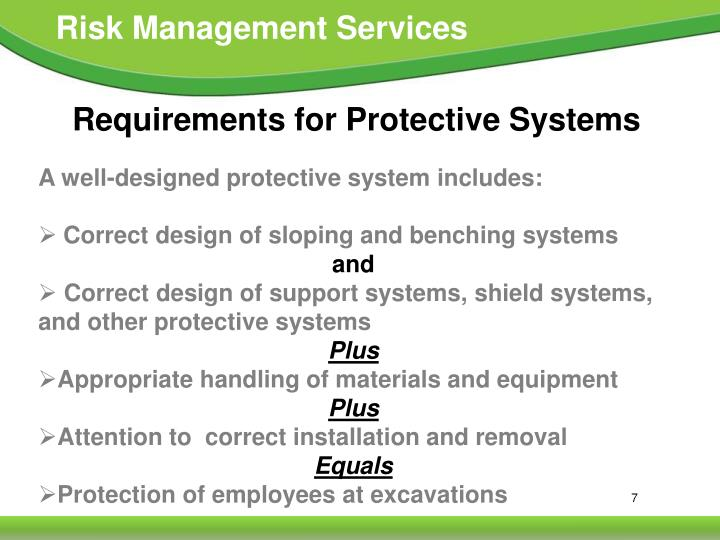 Requirements for Protective Systems