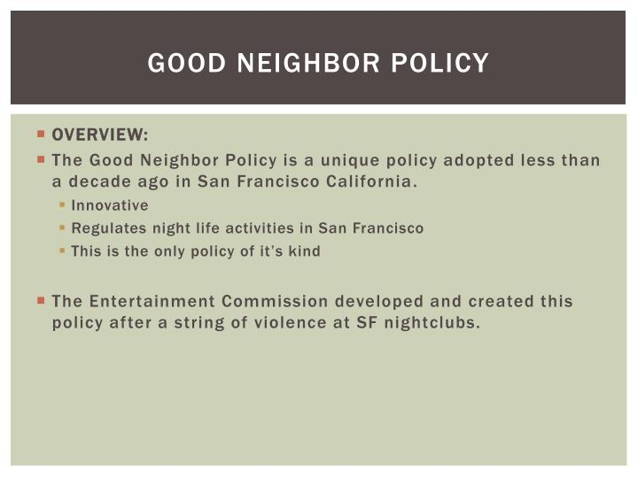 Good neighbor policy1
