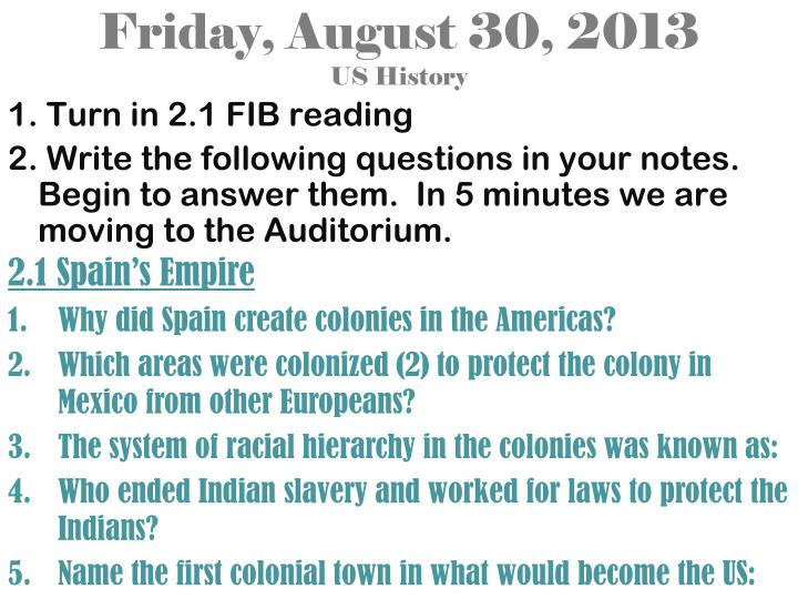 Friday august 30 2013 us history