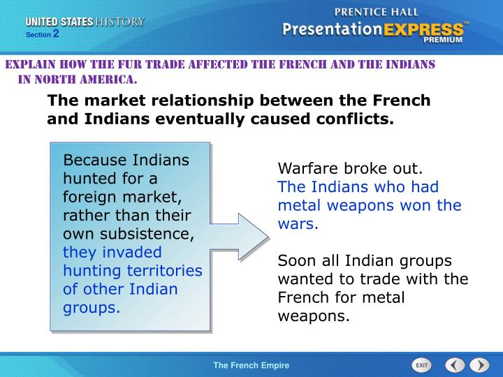 Explain how the fur trade affected the French and the Indians in North America.