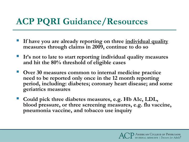 Acp pqri guidance resources